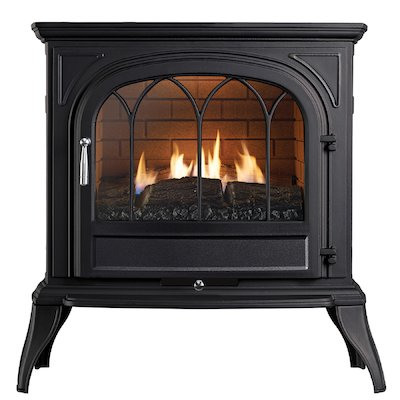 Ekofires 6010 Flueless Gas Stove Black Tracery Glass Door