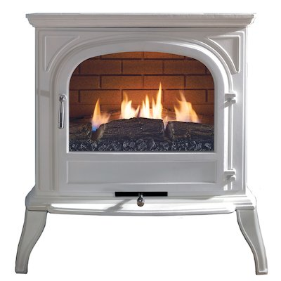 Ekofires 6010 Flueless Gas Stove White Clear Glass Door