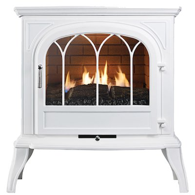 Ekofires 6010 Flueless Gas Stove White Tracery Glass Door