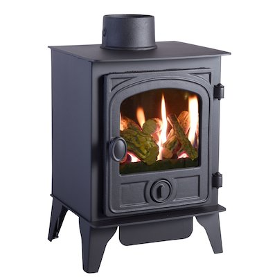 HS Gas Hawk 4 Conventional Flue Gas Stove Black Contemporary Door