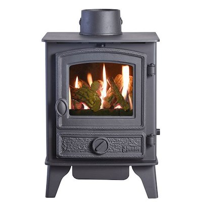 HS Gas Hawk 4 Conventional Flue Gas Stove Black Rope Effect Door