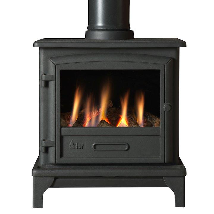 Valor Ridlington Conventional Flue Gas Stove Black Manual Control Log Effect - Black