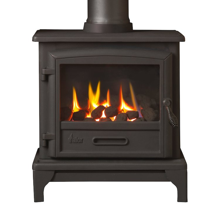 Valor Ridlington Conventional Flue Gas Stove Black Remote Control Coal Effect - Black