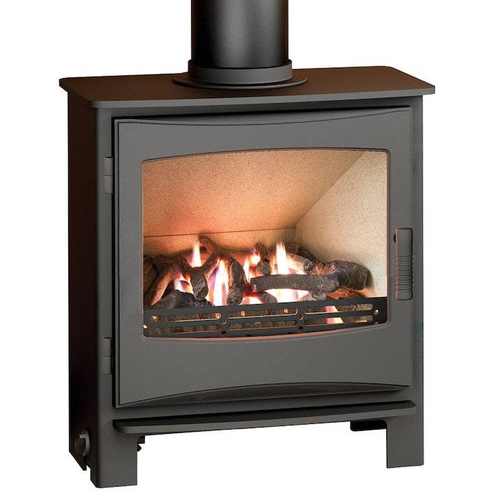 Broseley Evolution Desire/Ignite 7 Conventional Flue Gas Stove Black Natural Gas Cast-Iron Door - Black