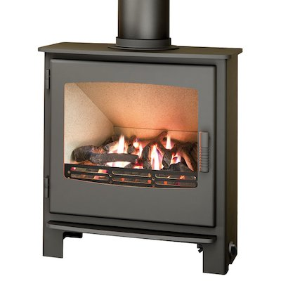 Broseley Evolution Desire/Ignite 7 Conventional Flue Gas Stove Black Natural Gas Steel Door