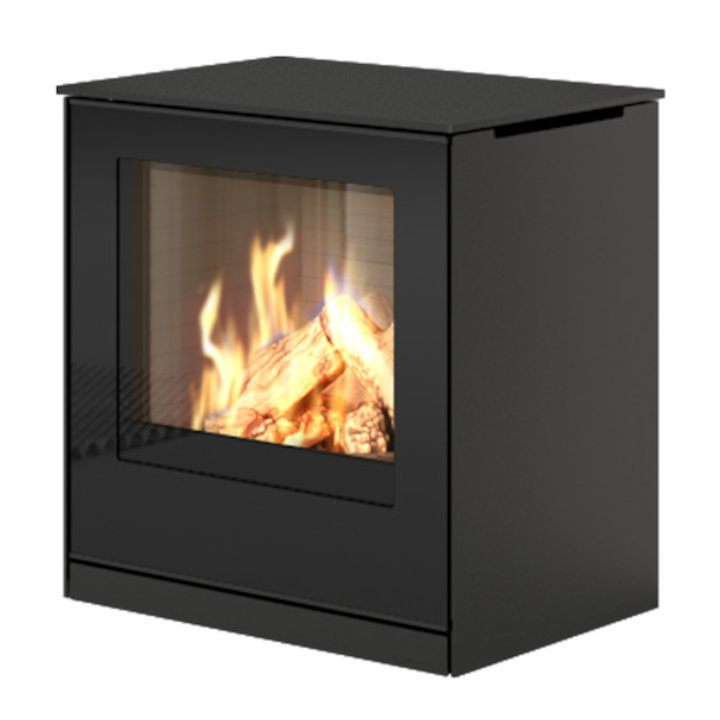 Rais Q-Tee Balanced Flue Gas Stove Black LPG  Black Glass Framed Door - Black