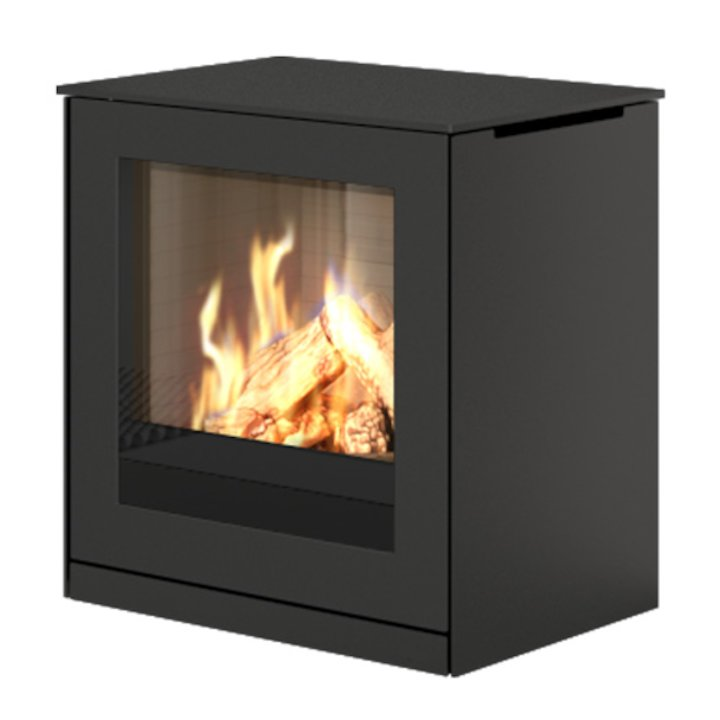 Rais Q-Tee Balanced Flue Gas Stove Black LPG  Metal Framed Door - Black