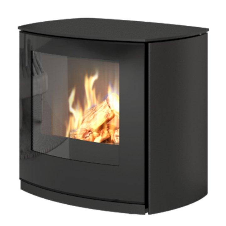 Rais Q-Tee Curve Balanced Flue Gas Stove Black LPG  Black Glass Framed Door - Black