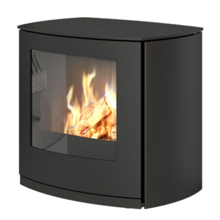 Rais Q-Tee Curve Balanced Flue Gas Stove Black LPG  Metal Framed Door - Black