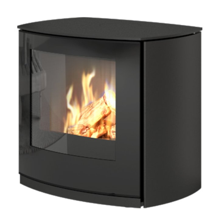 Rais Q-Tee Curve Balanced Flue Gas Stove Black Natural Gas Black Glass Framed Door - Black