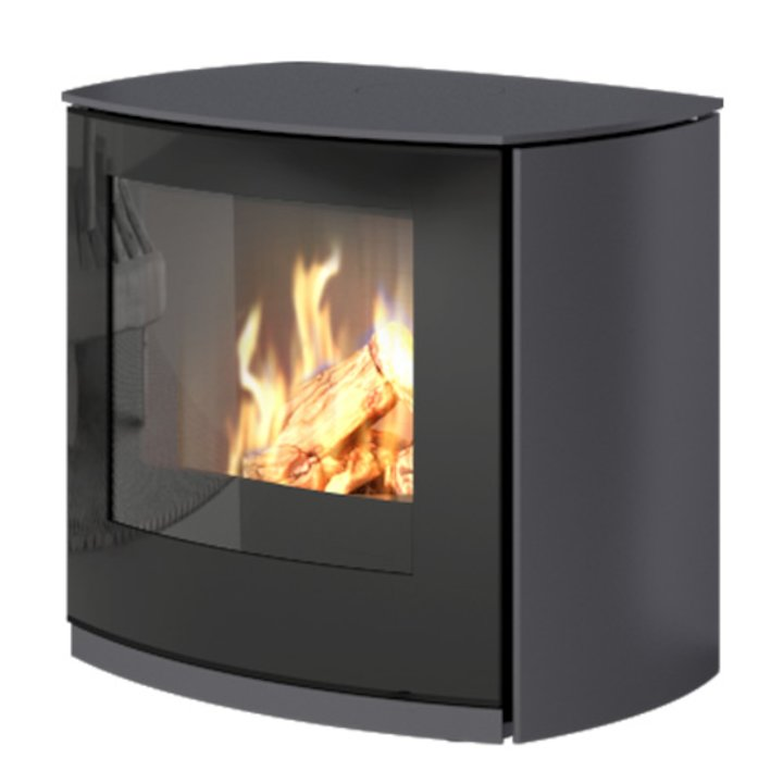 Rais Q-Tee Curve Balanced Flue Gas Stove Platinum Natural Gas Black Glass Framed Door - Platinum