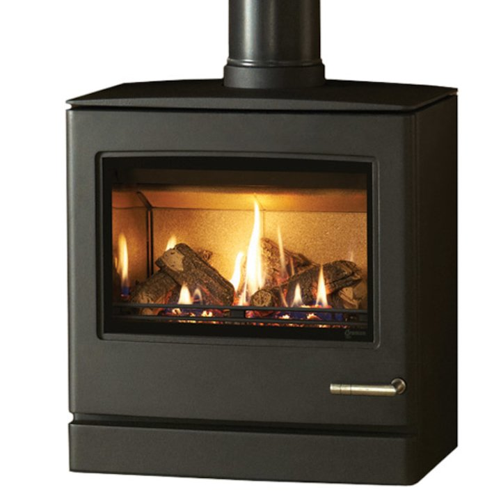 Yeoman CL8 Conventional Flue Gas Stove Anthracite Natural Gas Top Flue Outlet - Anthracite