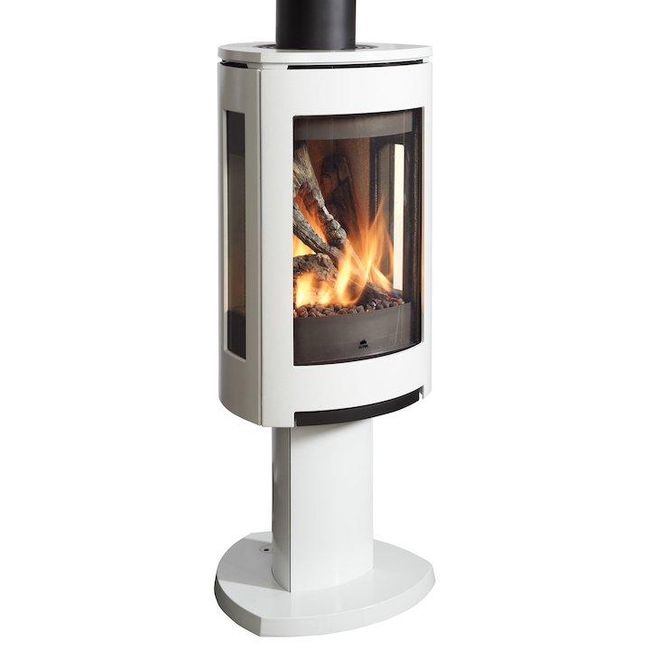 Jotul GF373 Balanced Flue Gas Stove Enamel White Natural Gas Remote Control - Enamel White