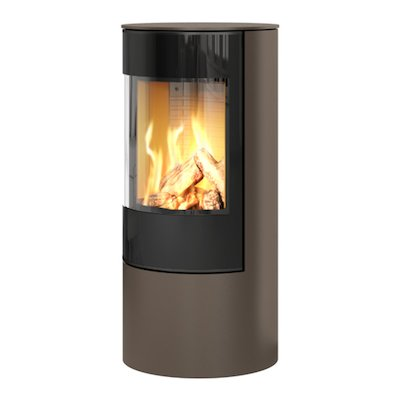 Rais Viva 100L Balanced Flue Gas Stove Mocha Black Glass Framed Door Solid Sides