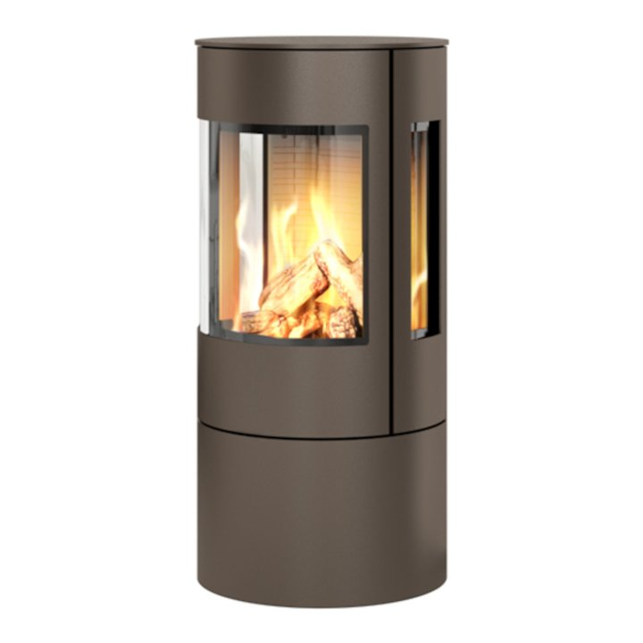 Rais Viva 100L Balanced Flue Gas Stove Mocha Metal Framed Door Side Glass Windows - Mocha