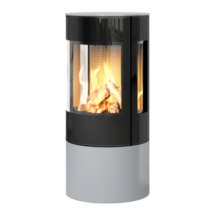 Rais Viva 100L Balanced Flue Gas Stove Silver Black Glass Framed Door Side Glass Windows - Silver Filigree