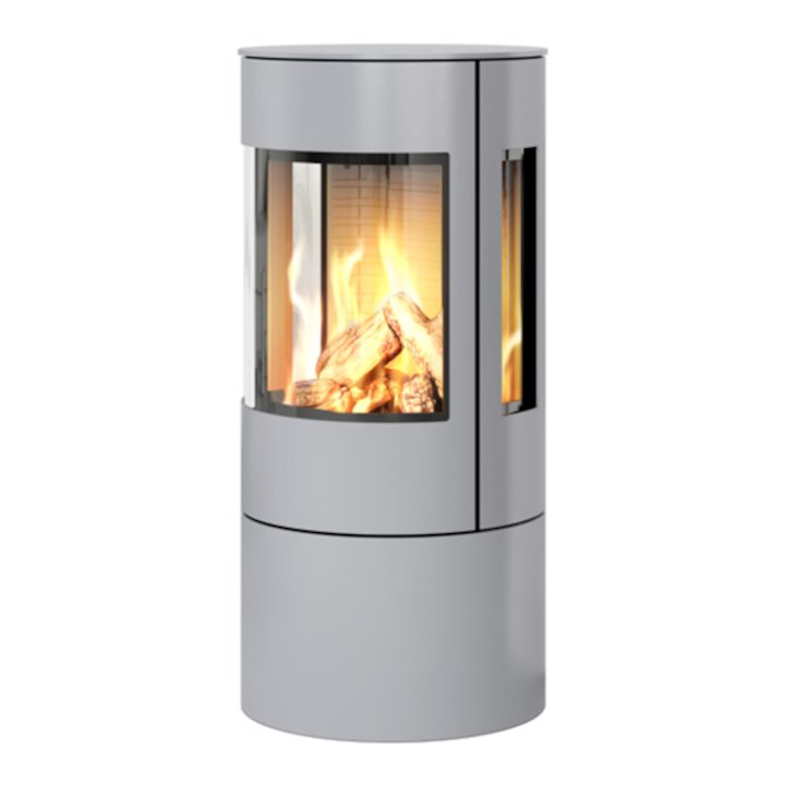 Rais Viva 100L Balanced Flue Gas Stove Silver Metal Framed Door Side Glass Windows - Silver Filigree