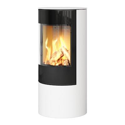 Rais Viva 100L Balanced Flue Gas Stove White Black Glass Framed Door Solid Sides