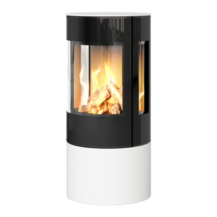 Rais Viva 100L Balanced Flue Gas Stove White Black Glass Framed Door Side Glass Windows - White