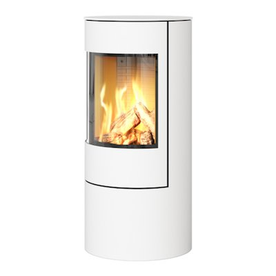 Rais Viva 100L Balanced Flue Gas Stove White Metal Framed Door Solid Sides