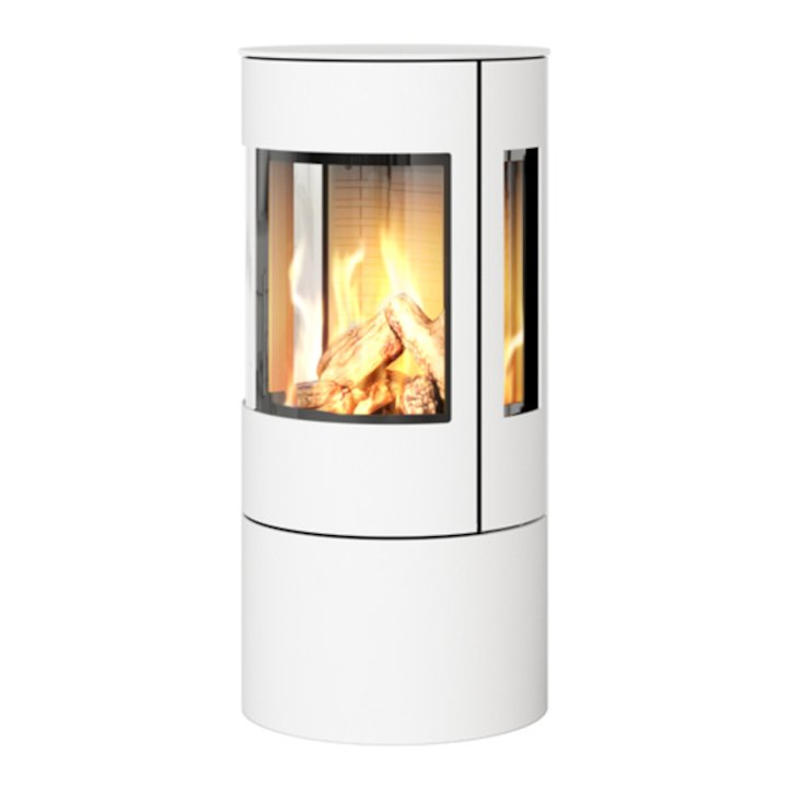 Rais Viva 100L Balanced Flue Gas Stove White Metal Framed Door Side Glass Windows - White