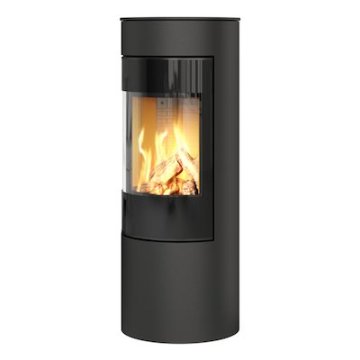 Rais Viva 120L Balanced Flue Gas Stove Black Black Glass Framed Door Solid Sides