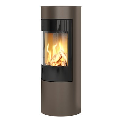 Rais Viva 120L Balanced Flue Gas Stove Mocha Black Glass Framed Door Solid Sides