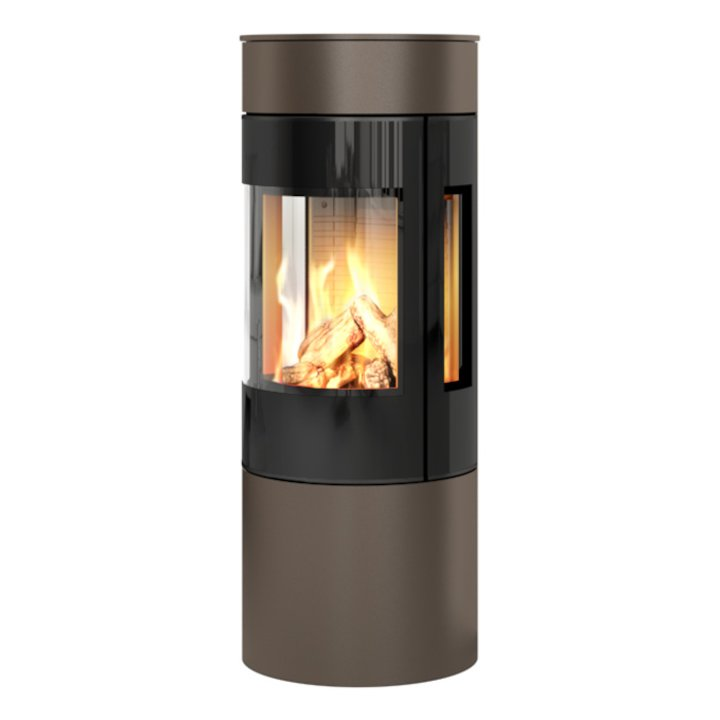 Rais Viva 120L Balanced Flue Gas Stove Mocha Black Glass Framed Door Side Glass Windows - Mocha