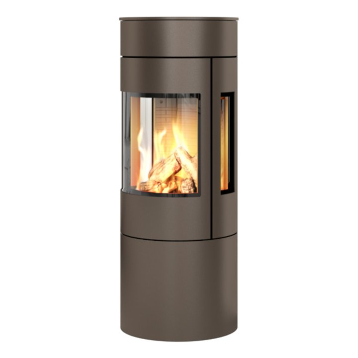Rais Viva 120L Balanced Flue Gas Stove Mocha Metal Framed Door Side Glass Windows - Mocha