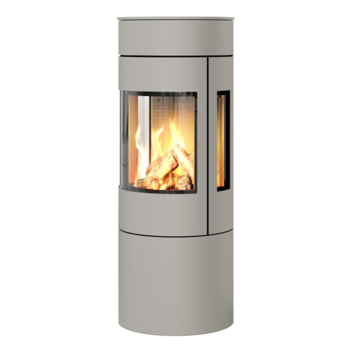 Rais Viva 120L Balanced Flue Gas Stove Nickel Metal Framed Door Side Glass Windows - Nickel