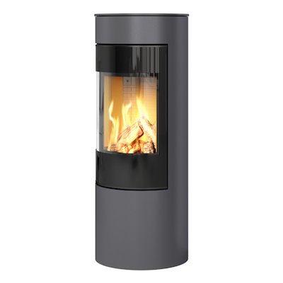 Rais Viva 120L Balanced Flue Gas Stove Platinum Black Glass Framed Door Solid Sides