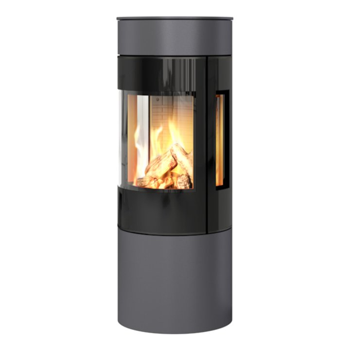 Rais Viva 120L Balanced Flue Gas Stove Platinum Black Glass Framed Door Side Glass Windows - Platinum
