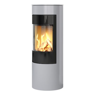 Rais Viva 120L Balanced Flue Gas Stove Silver Black Glass Framed Door Solid Sides