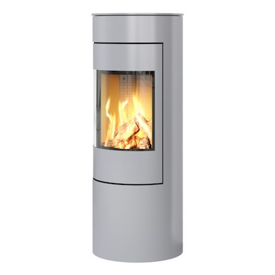 Rais Viva 120L Balanced Flue Gas Stove Silver Metal Framed Door Solid Sides