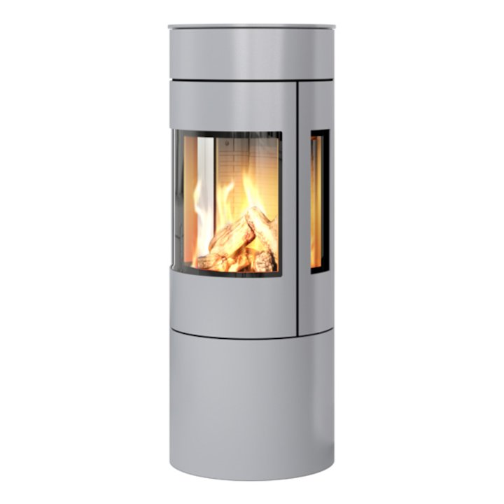Rais Viva 120L Balanced Flue Gas Stove Silver Metal Framed Door Side Glass Windows - Silver Filigree