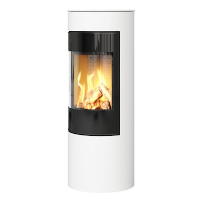 Rais Viva 120L Balanced Flue Gas Stove White Black Glass Framed Door Solid Sides