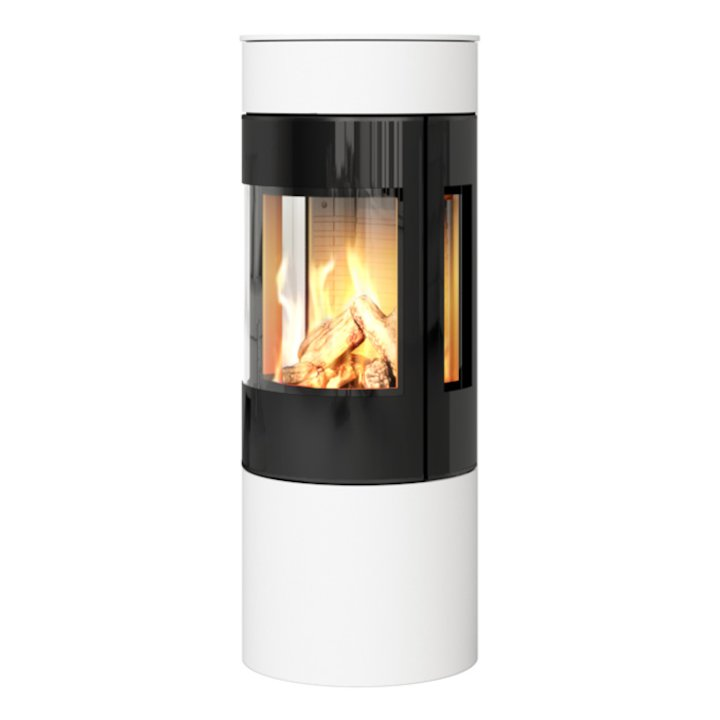 Rais Viva 120L Balanced Flue Gas Stove White Black Glass Framed Door Side Glass Windows - White