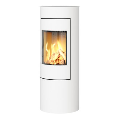 Rais Viva 120L Balanced Flue Gas Stove White Metal Framed Door Solid Sides