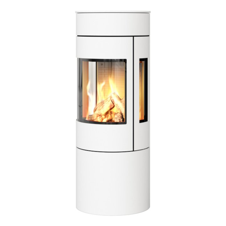Rais Viva 120L Balanced Flue Gas Stove White Metal Framed Door Side Glass Windows - White