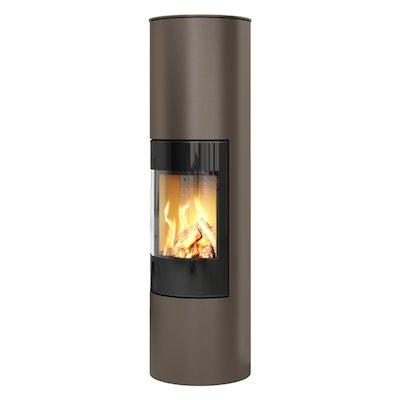 Rais Viva 160L Balanced Flue Gas Stove Mocha Black Glass Framed Door Solid Sides
