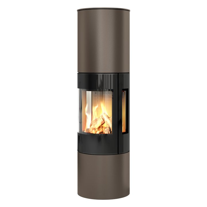 Rais Viva 160L Balanced Flue Gas Stove Mocha Black Glass Framed Door Side Glass Windows - Mocha