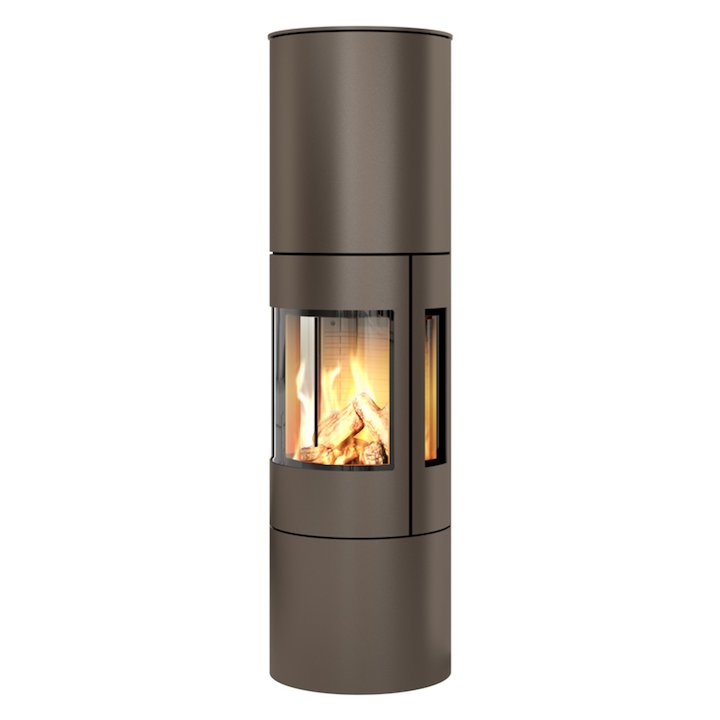 Rais Viva 160L Balanced Flue Gas Stove Mocha Metal Framed Door Side Glass Windows - Mocha