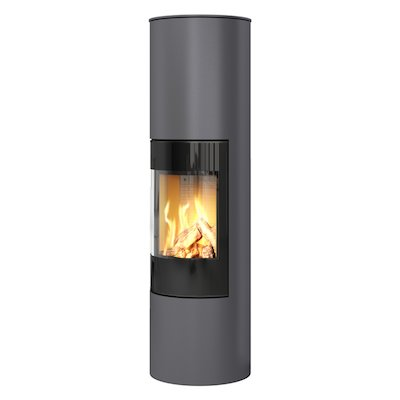 Rais Viva 160L Balanced Flue Gas Stove Platinum Black Glass Framed Door Solid Sides