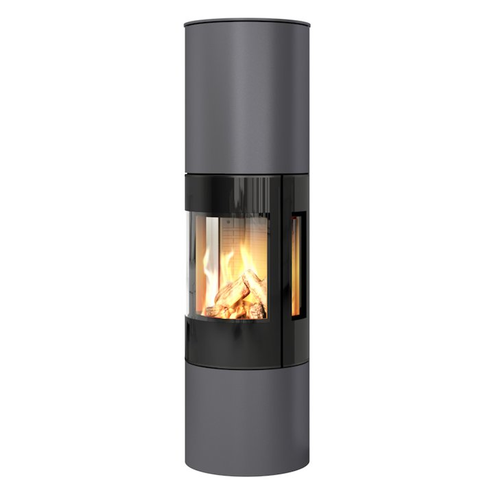 Rais Viva 160L Balanced Flue Gas Stove Platinum Black Glass Framed Door Side Glass Windows - Platinum