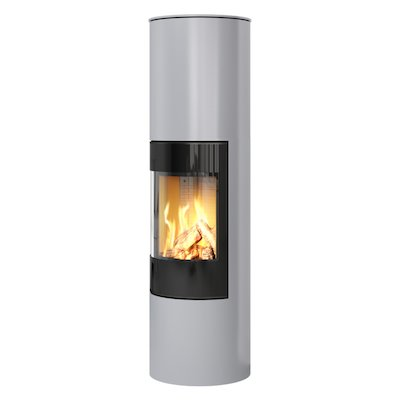 Rais Viva 160L Balanced Flue Gas Stove Silver Black Glass Framed Door Solid Sides