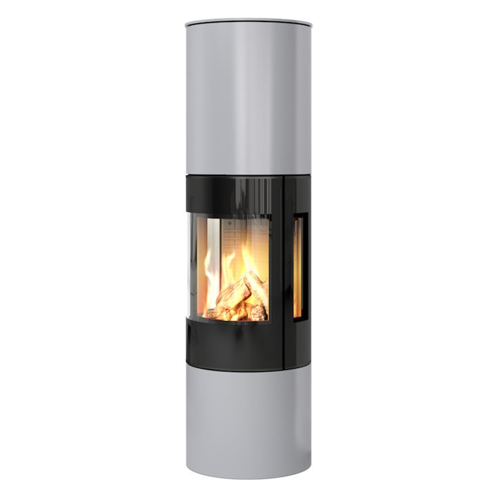 Rais Viva 160L Balanced Flue Gas Stove Silver Black Glass Framed Door Side Glass Windows - Silver Filigree