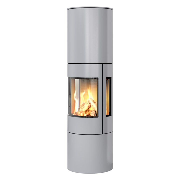 Rais Viva 160L Balanced Flue Gas Stove Silver Metal Framed Door Side Glass Windows - Silver Filigree