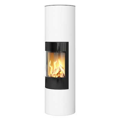 Rais Viva 160L Balanced Flue Gas Stove White Black Glass Framed Door Solid Sides