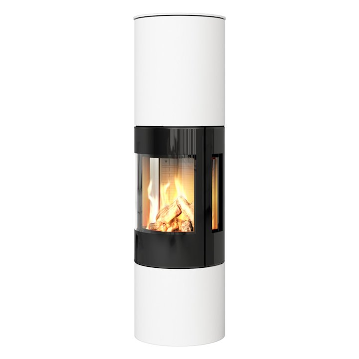 Rais Viva 160L Balanced Flue Gas Stove White Black Glass Framed Door Side Glass Windows - White