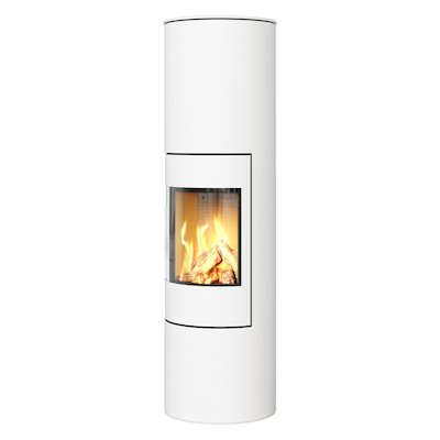 Rais Viva 160L Balanced Flue Gas Stove White Metal Framed Door Solid Sides